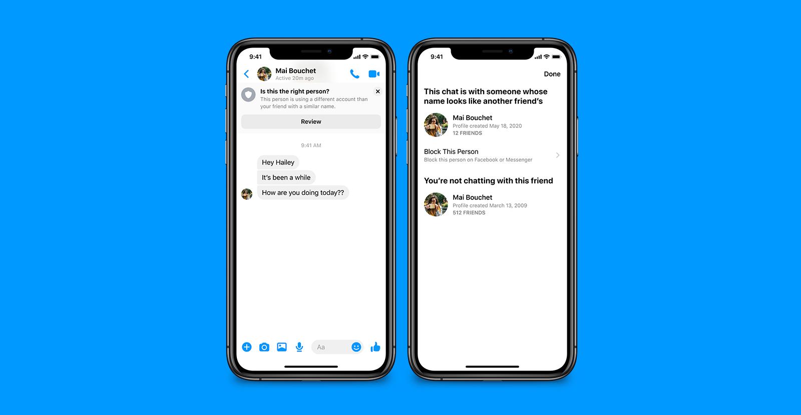Exemple de message d'alerte lorsqu'une personne se faisant passer pour un(e) ami(e) vous contacter sur Messenger